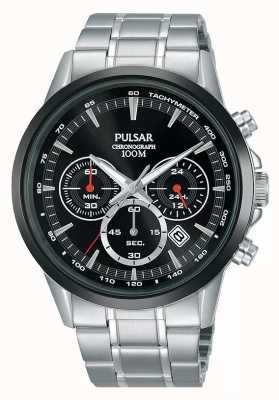Pulsar Heren chronograaf zwarte wijzerplaat roestvrij stalen armband PT3913X1