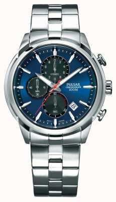 Pulsar Heren chronograaf blauwe wijzerplaat roestvrij stalen armband PM3115X1