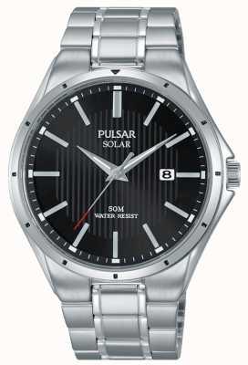 Pulsar Heren solar zwarte wijzerplaat roestvrij stalen armband PX3117X1