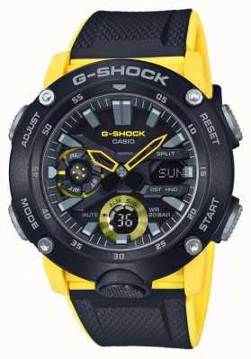 Casio | g-shock carbon kernbeschermer | zwart geel riempje | GA-2000-1A9ER