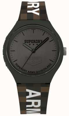 Superdry | mens urban xl | tweekleurige siliconen riem | gunmetal grijs SYG251E
