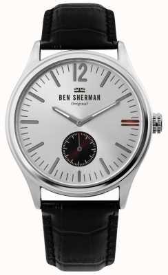 Ben Sherman | heren harrison city | zilveren wijzerplaat | zwart croc leer | WB035B