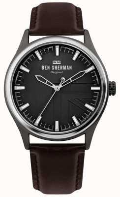 Ben Sherman | heren harrison | bruine leren riem | zwarte wijzerplaat | WB036T