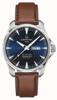 Certina ​ds action day-date powermatic 80 | blauwe wijzerplaat | bruine band C0324301604100