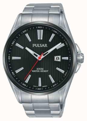 Pulsar   heren roestvrij staal   zwarte wijzerplaat   PS9605X1
