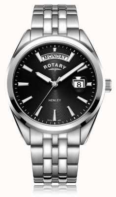 Rotary | mens henley | zwarte wijzerplaat | roestvrijstalen armband | GB05290/04