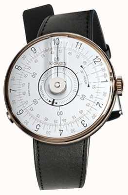 Klokers Klok 08 witte horlogeband zwarte satijnen enkele riem KLOK-08-D1+KLINK-01-MC1