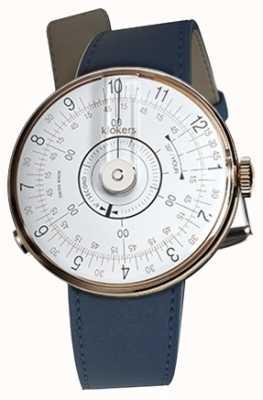 Klokers Klok 08 witte horlogeband indigo blauwe enkele riem KLOK-08-D1+KLINK-01-MC3