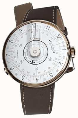 Klokers Klok 08 witte horloge hoofd chocolade bruin enkele riem KLOK-08-D1+KLINK-01-MC4