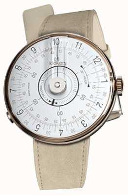 Klokers Klok 08 witte grijze enkele alcantara horlogeband KLOK-08-D1+KLINK-01-MC6