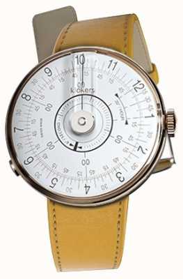 Klokers Klok 08 witte horlogehoofd nieuwport gele enkele riem KLOK-08-D1+KLINK-01-MC7.1