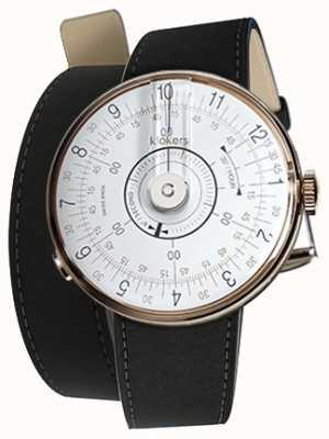 Klokers Klok 08 witte horloge hoofdmat zwarte dubbele riem KLOK-08-D1+KLINK-02-380C2
