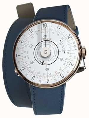 Klokers Klok 08 witte horlogeband indigo blauwe dubbele band KLOK-08-D1+KLINK-02-380C3