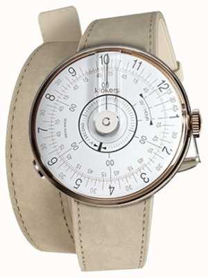 Klokers Klok 08 witte grijze dubbele alcantara horlogeband KLOK-08-D1+KLINK-02-380C6