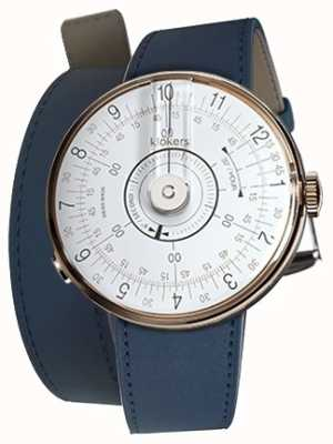 Klokers Klok 08 witte horlogeband indigo blauw 420mm dubbele band KLOK-08-D1+KLINK-02-420C3