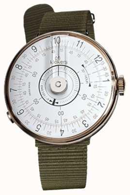 Klokers Klok 08 wit horloge hoofd korstmosgroen textiel enkele riem KLOK-08-D1+KLINK-03-MC2