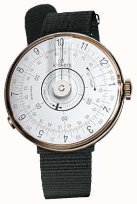 Klokers Klok 08 witte horloge hoofd zwart textiel enkele riem KLOK-08-D1+KLINK-03-MC3
