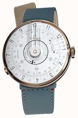 Klokers Klok 08 witte horlogeband in blauw jean zeemansriempje KLOK-08-D1+KLINK-04-LC10