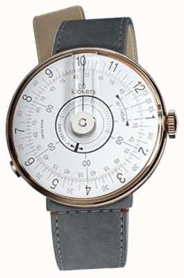Klokers Klok 08 witte horlogeband grijs alcantara zeestraat enkele riem KLOK-08-D1+KLINK-04-LC11