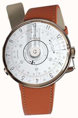Klokers Klok 08 witte horlogeband oranje alcantara enkele riem KLOK-08-D1+KLINK-01-MC5