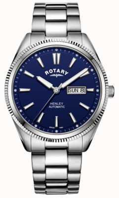 Rotary heren henley | gekartelde lunette | blauwe wijzerplaat | roestvrij staal GB05380/05