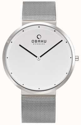 Obaku | mens papir staal | zilveren mesh armband | witte wijzerplaat | V230GXCWMC