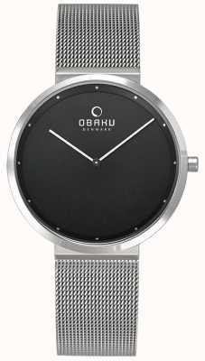 Obaku | dames papir lillie onyx | zilveren mesh armband | zwart V230LXCBMC
