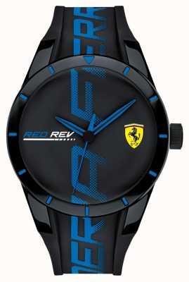 Scuderia Ferrari | heren redrev | zwartblauw siliconen bandje zwarte wijzerplaat | 0830616