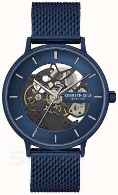 Kenneth Cole | heren automatisch | blauwe gaasband | blauwe wijzerplaat | KC50780003