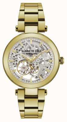 Kenneth Cole | automatische dames | geel / gouden armband | zilveren wijzerplaat | KC50799003