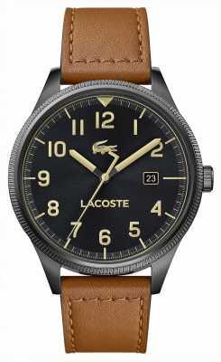 Lacoste | continentaal heren | bruine lederen band | zwarte wijzerplaat | 2011021