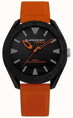 Superdry | mens osaka | oranje siliconen armband | zwarte wijzerplaat | SYG243OB