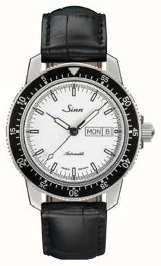 Sinn 104 st sa iw classic pilot horloge alligator reliëf leer 104.012 BLACK EMBOSSED LEATHER BLACK STITCHING