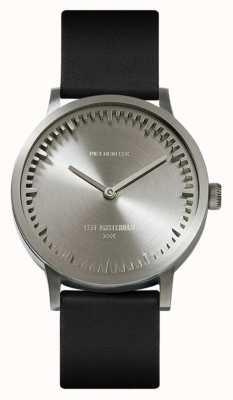 Leff Amsterdam | buis horloge | t32 | staal | zwarte lederen band | LT74111
