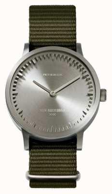 Leff Amsterdam | buis horloge | t32 | staal | groene NAVO-riem | LT74131