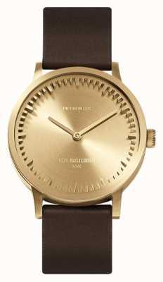 Leff Amsterdam | buis horloge | t32 | messing | bruine lederen band | LT74323
