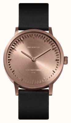 Leff Amsterdam | buis horloge | t32 | rose goud | zwarte lederen band | LT74414