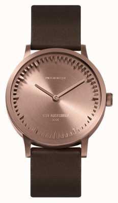 Leff Amsterdam | buis horloge | t32 | rose goud | bruine lederen band | LT74424