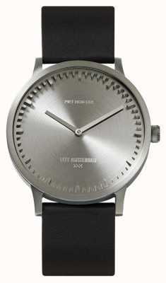 Leff Amsterdam | buis horloge | t40 | staal | zwarte lederen band | LT75111