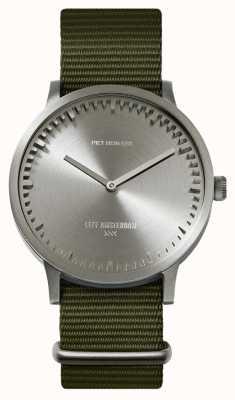 Leff Amsterdam | buis horloge | t40 | staal | groene NAVO-riem | LT75131
