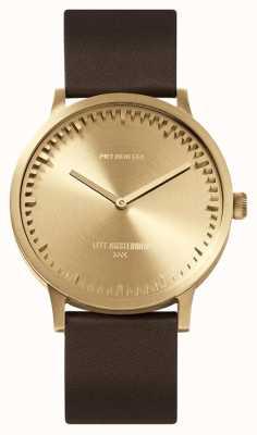 Leff Amsterdam | buis horloge | t40 | messing | bruine lederen band | LT75323