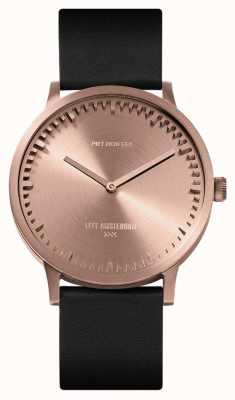 Leff Amsterdam | buis horloge | t40 | rose goud | zwarte lederen band | LT75414