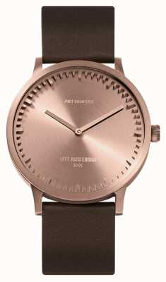 Leff Amsterdam | buis horloge | t40 | rose goud | bruine lederen band | LT75424