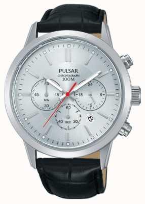 Pulsar | heren chronograaf | zilveren wijzerplaat | zwarte leren riem | PT3749X1
