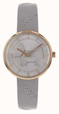 Radley | grijze lederen band voor dames | grijze in reliëf gemaakte hondwijzerplaat | RY2804