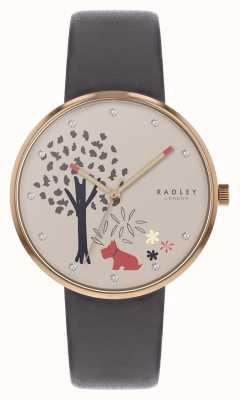 Radley | grijze lederen band voor dames | boom en hond motief draaien RY2788