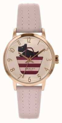 Radley | lichtroze leren armband voor dames | gedrukte hond in zak wijzerplaat RY2794