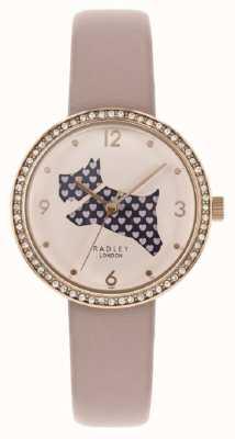 Radley | roze lederen band voor dames | uitgesneden hond bellen | kristal gezet RY2806