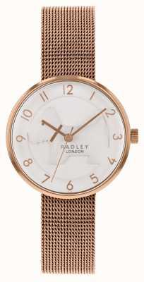 Radley | womens rose goud mesh armband | witte in reliëf gemaakte hondwijzerplaat | RY4392