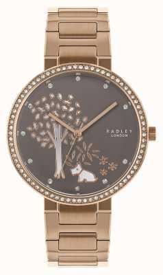 Radley | roségouden stalen armband voor dames | witte / grijze boomwijzer | RY4386